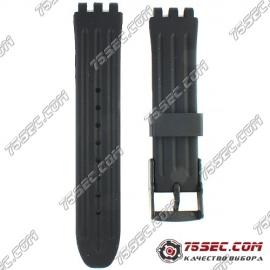 Черный ремешок Swatch тиснение линии