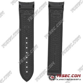 Черный ремешок из каучука для Omega 98000382 тиснение аллигатор
