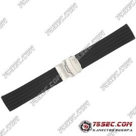 Универсальный ремешок из каучука, черного цвета с полосками.