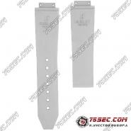 Белый ремешок для часов Hublot из каучука с тиснением полоски