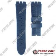 Синий ремешок Swatch тиснение елочка