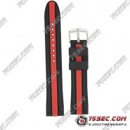Универсальный ремешок из каучука, черно-красный, три полоски.
