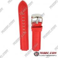 Красный ремешок из сатина и кожи для часов Louis Vuitton.