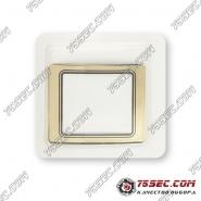 Минеральное стекло Rado 28,3x23,5мм желтое золото, черный кант