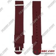 №001 Ремешок из ткани бордового цвета для Daniel Wellington